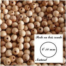 Perle en bois ronde Ø 10 mm : Naturel (lot de 50 perles)