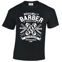 Rockabilly Barber T-Shirt Mens S-5XL Shop Hipster Beard Tee Fresh Style
