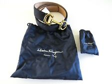SALVATORE FERRAGAMO Navy Blue Parigi Python Snakeskin Leather Belt 42 US 105 CM