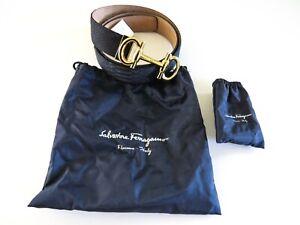 SALVATORE FERRAGAMO Navy Blue Parigi Python Snakeskin Leather Belt 42 US 105 CM
