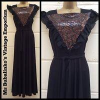 Vintage 80s Boho Black Gold Sequins Panel Maxi Evening Party Dress Sz 6 8