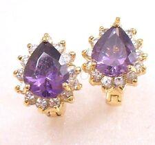 Women New Heart18K Gold Plated Purple Simulated Diamond Luxury Hoop Earrings