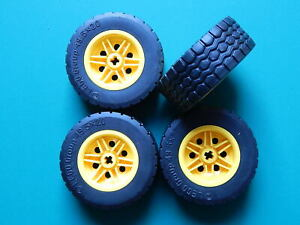 4x New Yellow LEGO Technic Large Wheels with black Tyres 49.5x20 mm  56145 15413