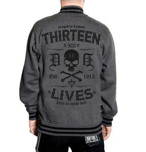 Dragstrip Clothing American Varsity Grey Tattoo Thirteen Lives Hot Rod Jacket