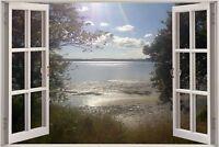Huge 3D Window view Exotic Ocean Lake Wall Sticker Film Art Decal Wallpaper 1139