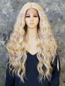 Long Wavy Curls Lace Front Heat OK Human Hair Blend Wig Light Blonde Mix EVEW