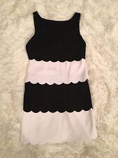 B44 Dressed Black & White Dress Sleeveless Layered Scalloped Lined