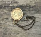 Not All Those Who Wander Are Lost Handmade Antique Brass Working Compass / Chain