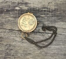 Not All Those Who Wander Are Lost - Antique Brass Working Compass With Chain