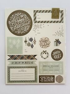 NEW Rifle Paper Co Holiday Gift Tag Stickers Mailing Labels Gold Pastel