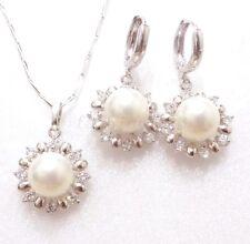 Donna Nuova placcato oro bianco perla Conchiglia Matrimonio SOLE