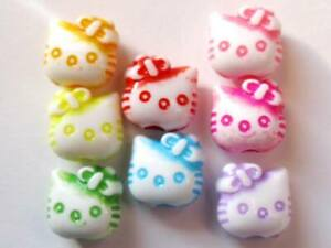 Mixed Colors Jelly Transparent Hello Kitty Acrylic Pony Spacer Beads 10-24mm USA