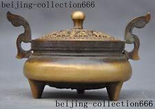 """5""""marked old Chinese bronze Buddhism auspicious bat Incense Burner Censer"""