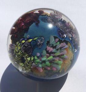 "Josh Simpson Inhabited Planet-Art Glass Paperweight-1994-Signed-3"""