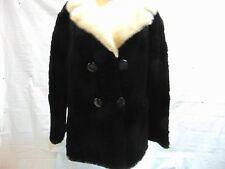 Womens size X-Large CLASSIC sixtys short cut LAMB FUR COAT with MINK COLLAR