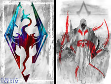 Skyrim Assassin's Creed Gamer Art 2 print LOT 11 x 17 Sale Quality Poster