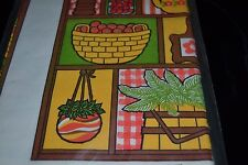 Vtg Hippies 60's/70's Paper Table Cover Hanging Plants Kitchen Outdoor NOS