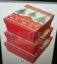 Gift Box - Xmas Tree - Tip-On - Large Square - Nest of 3