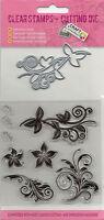 ClearStamp Silikonstempel & Schneideschablone im Set Blumenornamente (029)