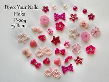 "25*x ""3d  PINK Nail Art "" Resin Bow Roses Hearts Pearls Stars Crafts - P-004"