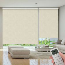 100% Blackout Remote Control Motorized Window Roller Shade Blind, Beige