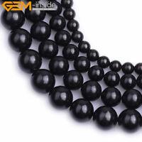 "Natural Round Black Jet Stone Loose Beads For Jewelry Making Strand 15"" Gemstone"