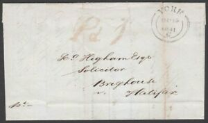 """1841 YORK """"Pd.1"""" UNIFORM PENNY POST HANDSTAMP ON ENTIRE LETTER TO BRIGHOUSE UPP"""