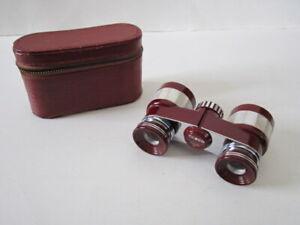 Tasco Mother of Pearl Achromatic Coated Opera Glasses Binoculars Burgundy w/Case