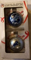 Detroit Lions Home and Away Glass Christmas Ornament Set New