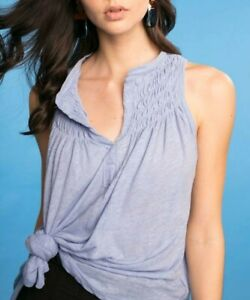 Free People Womens New To Town Blouse Dreamy Clouds Blue Size XS