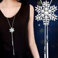 Long Necklace Snowflake Pendant Necklaces For Women Gift Sweater Chain