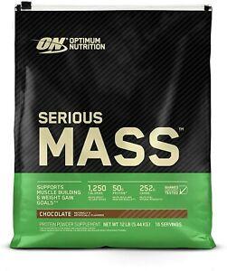 Optimum Nutrition Serious Mass Weight Gainer Protein Powder, Chocolate, 12 Lb