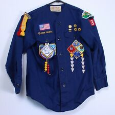 Boy Scout BSA Cub Webelo Uniform Shirt Blue Long Sleeve Official Vtg 70s Patch