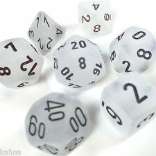 Chessex Dice Polyhedral Frost White - Set Of 7  Black Numbers 27401 - Free bag!
