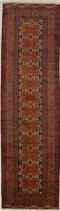 Vintage Tribal Design 4X13 Handmade Rare Wool Runner Rug Hallway Oriental Carpet