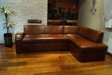 Italienisches Leder Ecksofa 100% Echt Leder Sofa Eckcouch mit Bettfunktion