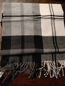 Stewart Of Scotland Mens 100% Merino Wool Scarf Black Gray Ivory Fringe 11 x 70