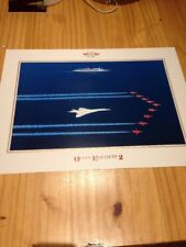 QE2, BA CONCORDE & Red Arrows Poster 150 Years of Cunard 1840 - 1990