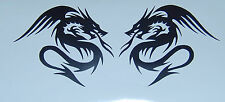 2X TRIBAL DRAGON VINYL DECALS STICKERS PICK COLOR NEW
