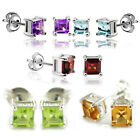 Genuine Amethyst Citrine Garnet Peridot Topaz Earrings Stud 925 Sterling Silver