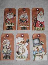 Primitive 12 Whimsical Santa Snowman Hang Tags (cs1219)