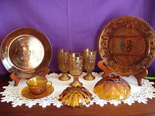 VINTAGE AMBER GLASS WARE MINTY SHAPE & COLOR ASSORTMENT OF PIECES