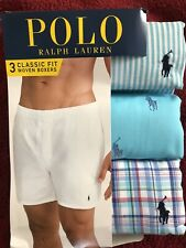New NIP Polo Ralph Lauren Men Woven Boxers 3 Pack Reinvented Size L