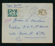 FRANCE POSTAGE DUE 1959 IVORY COAST to NICE 20F