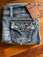 Womens Antique Rivet Jeans Size 28 Light Wash Studded Pockets