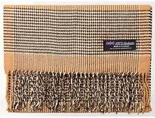 Men Cashmere Scarf Brown White Tartan Flannel Check Plaid Warm Scottish Wool R6