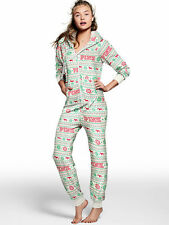 VICTORIAS SECRET PINK FAIRISLE Nordic Red Dog HOODED Onesie LONG JANE Pajama L