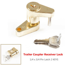 1×RV Trailer Coupler Receiver Tow Hitch Lock Brass 1/4 x 3/4 Pin Latch w/2 KEYS