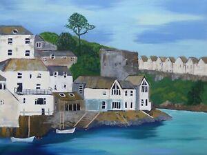 Polruan Summer : original painting, Cornwall, Fowey, boats, sea, houses,