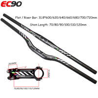 EC90 MTB Bike 31.8mm Riser Flat Bar Carbon Handlebar+ Carbon Aluminum Stem 90mm